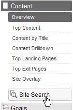 Google Analytics - Site Search - hlavní menu